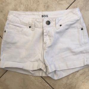 BDG white jean shorts